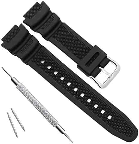 Waterproof Natural Resin Replacement Watch Band for Casio AQ- S800W SGW-300H MRW-200H AE-1200 W-800H W-735H (Black)