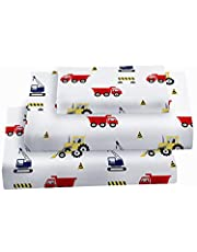 Softan Twin Bed Sheet Set for Kids, 3 PC Construction Printed Brushed Microfiber Kids Bedding Set, 1 Flat Sheet,1 Deep Pocket Fitted Sheet, and 1 Pillow Case, Breathable & Super Soft Feeling Sheets