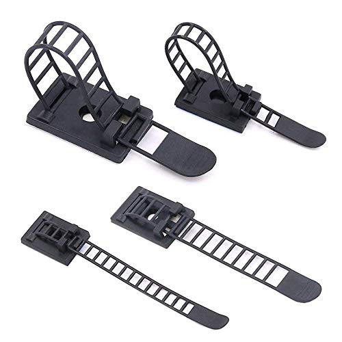 Cord Clamp Clipper - 40 Pack Adhesive Cable Holder Cord Clips Wire Clamps Cable Ties Straps Small Large Wire Clip for Desk Home Office Car Multipurpose Black 2 Size
