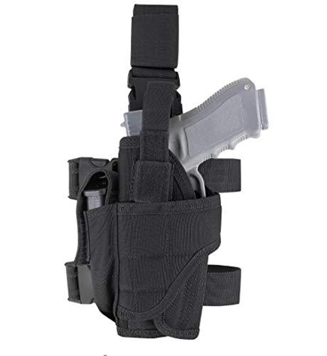 (AirSoft Universal Left Right Hand Gun Holster Military Tactical Tornado Drop Leg Thigh Handgun Pistol Holster Black (Left Hand))