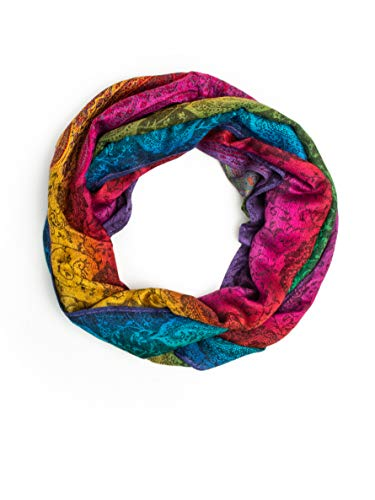 Iris Rainbow Pashmina, Silk and Wool Indian Paisley Traditional Jacquard Brocade Scarf or Shawl (Rainbow/Black INF, Infinity) ()