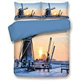 Duvet Cover Set,Blue Back,Windmill Decor,Frozen Winter View Dutch Windmill Covered in Snow ICY River at Sunset,Baby Blue Peach,Decorative 3 Pcs Bedding Set by 2 Pillow Shams,Twin Size