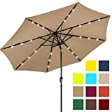 Best Choice Products 10ft Solar LED Lighted Patio Umbrella w/Tilt Adjustment – Tan