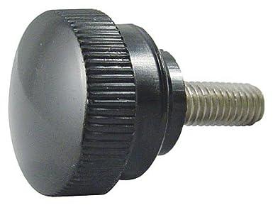Fluted Black Plastic Knob w//Stainless Steel Stud 1 Each Stud 1 Lg. 2 3//8 dia. 3//8-16 thds.