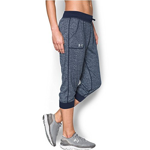 Under Armour Women's Twisted Tech Capri, Midnight Navy/Metallic Silver, (Under Armour Tech Capri)