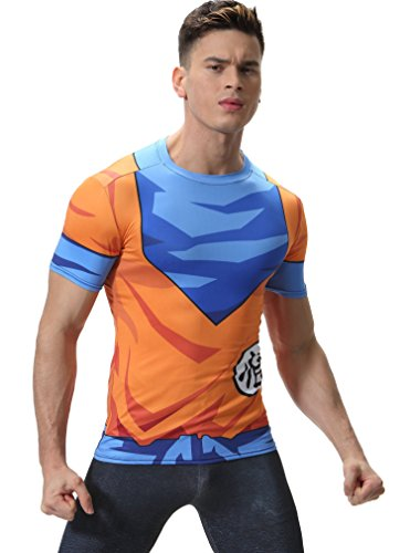 Red Plume Men's 3D Compression Shirt Skin Tight Anime Printing Tee (L, Dargon)