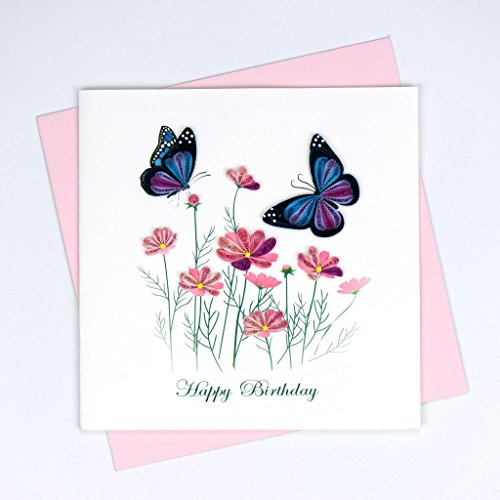 Quilling Card | Birthday Flowers & Butterflies
