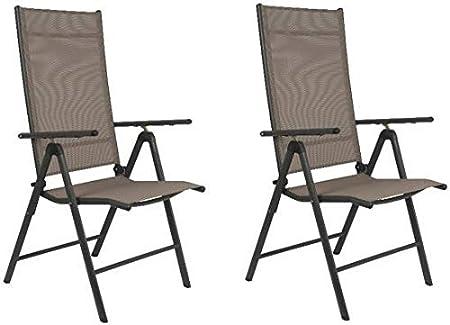 Maxx - Juego de 2 sillas Plegables para jardín, terraza, balcón o Camping, de Aluminio y plástico, Color Beige