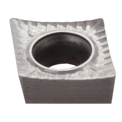 Dorian Tool HP-High Performance 7 Degrees ANSI Tungsten Carbide Precision Positive Ground Turning Insert, DNU10GT, Uncoated (Bright) Finish, CCGT Style, NFU Chipbreaker, CCGT-431-NFU, 3/16