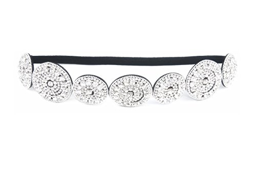 Thick Patterned Shimmering Bling Bridal Rhinestone Elastic Headbands (Style E) (Bling Shimmering)