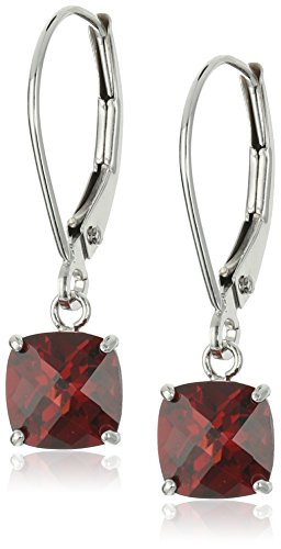 10k White Gold Cushion-Cut Checkerboard Garnet Leverback Earrings ()
