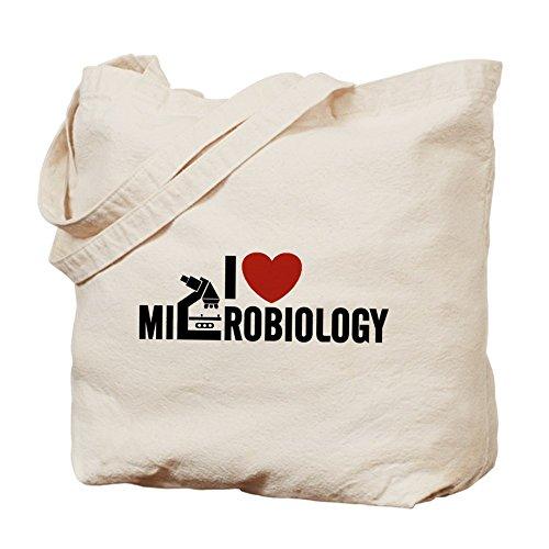 CafePress I Love–Microbiología–Gamuza de bolsa de lona bolsa, bolsa de la compra