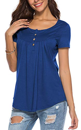 PinUp Angel Blue Peasant Blouse for Women Fashion 2018 Short Sleeve Casual Tunic V Neck Top (Blouse Angel)
