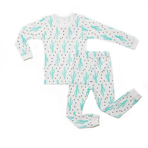 OllCHAENGi Little Boys Girls Kids Cotton Pajama Sleepwear Set Long Sleeve 18M-12Y Cactus (110)