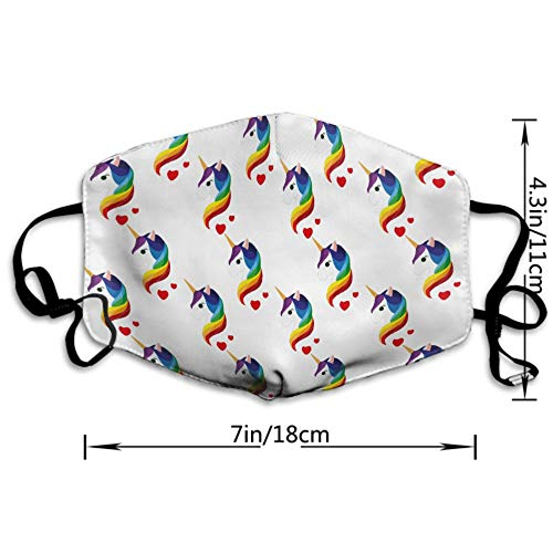 Fashion Face Mask Adjustable Elastic Band Hypoallergenic Face and Nose Cover for Pollen Smog Medical Climbing - Anti Pet Hair Allergy (Kawaii Unicorn with Colorful Hair Youth Cotton Mouth Mask)