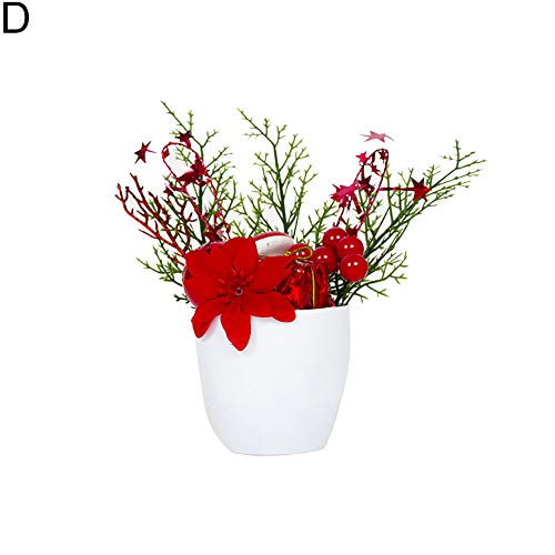 (Brave669 Christmas Artificial Red Berry Pine Cone Pot Plant Home Party Decor Ornament)