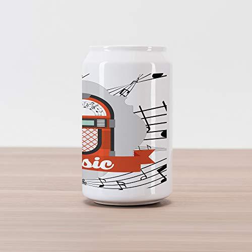 Ambesonne Jukebox Cola Can Shape Piggy Bank, Old Vintage Music Radio Box Cartoon Image with Notes Artwork Print, Ceramic Cola Shaped Coin Box Money Bank for Cash Saving, Orange Pale Grey Black