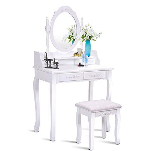 Giantex Vanity Set Dressing Table with Stool, Wood Makeup