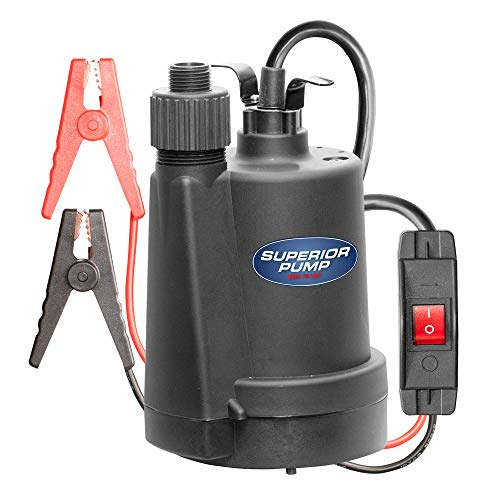 Superior Pump 12 Volt Submersible Transfer Utility Pump w/Garden Hose Adapter
