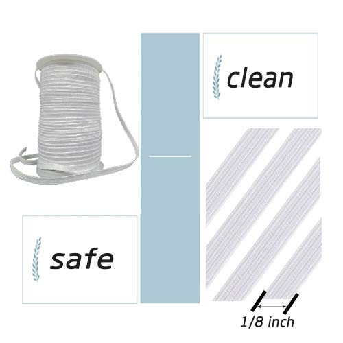 Elastic Band 1/8 inch 100Yards Elastic Strap Elastic Cord Elastic Strap Sewing DIY Crafts (1/8W x 100L, White)