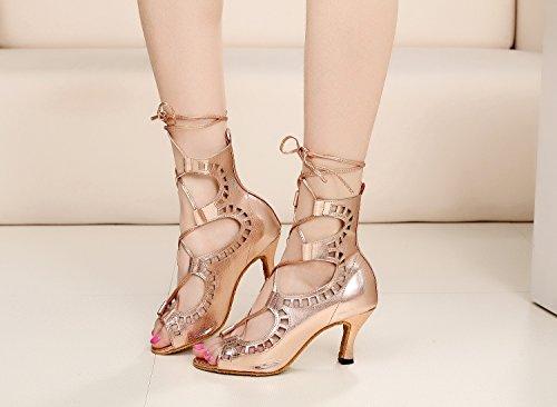 Minitoo Tqj5013 Da Donna Sintetico Cravatta Sintetica Tango Latino Da Ballo Scarpe Da Ballo Sera Prom Sandalo Sandali Rosa / Oro-7,5 Centimetri Tacco