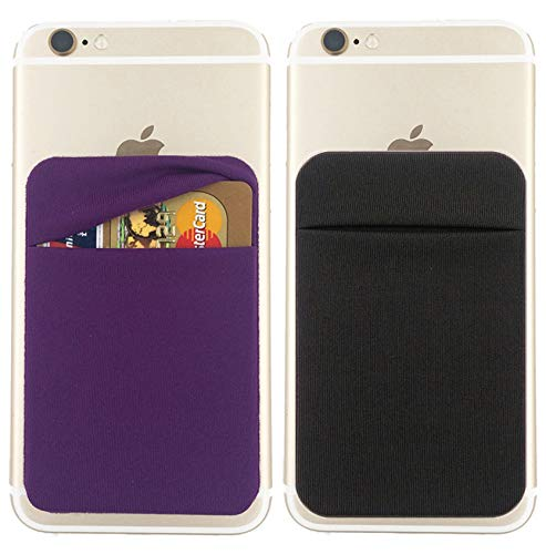 2Pack Cell Phone Card Holder[Double Secure with Pocket for ID/Credit Cards] for Back of Phone,Stick On Card Wallet Sticker Stretchy Lycra Fabric for iPhone,Android and All Smartphones-Purple,Black