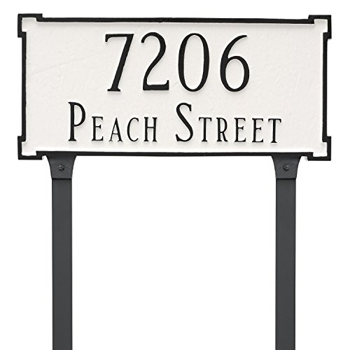 "Montague Metal 7.25"" x 15.75"" New Yorker Two Line Address Sign Plaque with Lawn Stakes, Standard, White/Silver"