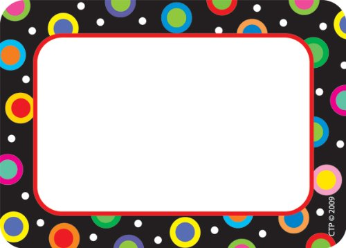 Creative Teaching Press Dots On Black Name Tags , Black. - 4505