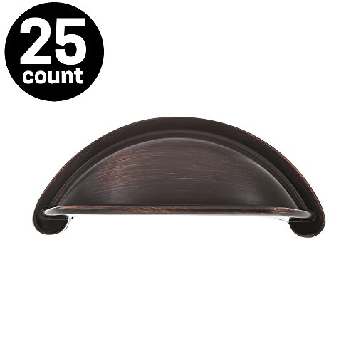 Stelwagen Fixtures - Kitchen Cabinet Bin Cup Handle Pulls Oil Rubbed Bronze 3 Inch (76mm) Center Spacing, Bell Arch Series (25 PACK) (Pull Arch Center Cup)