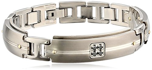 Edward Mirell Men's Grey Titanium Bracelet with Round Black Diamonds, 18k Yellow and Sterling Silver Accents, 8″, Size 12.5