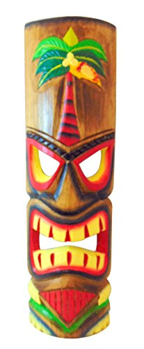 (Westman Works Tiki Mask Wall Plaque Handcarved Wooden Wall Decor with Palm Tree Design, 20 Inches Long Each)