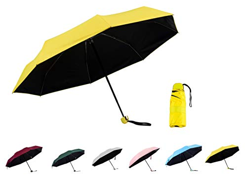 (Eternity-colorful Mini Travel Sun & Rain Umbrella - Light Compact Parasol with 95% UV Protection for Men Women Kids (Yellow))