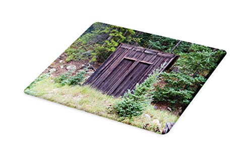 (Ambesonne Outhouse Cutting Board, Farm Life House Wooden Door of Cottage Hut in Woodland Leaves Art Print, Decorative Tempered Glass Cutting and Serving Board, Large Size, Dark Brown and Green)