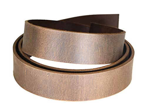 Crazy Horse Brown Water Buffalo Leather Belt Strip, Fully Aniline Dyed Straps, 48-50
