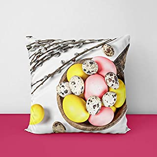41iJYE31lRL. SS320 Easter Branches Eggs Square Design Printed Cushion Cover