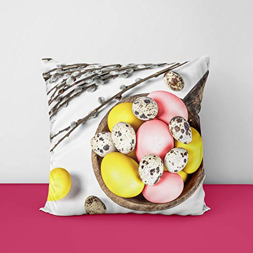 41iJYE31lRL Easter Branches Eggs Square Design Printed Cushion Cover
