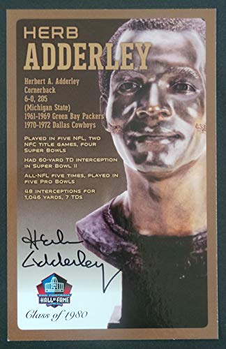 PRO FOOTBALL HALL OF FAME Herb Adderly Signed Bronze Bust Set Autographed Card NFL Green Bay Packers (Limited Edition #/150)