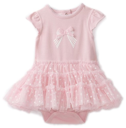 Little Me Baby-girls Newborn Bow Tutu Popover, Light Pink, 12 Months