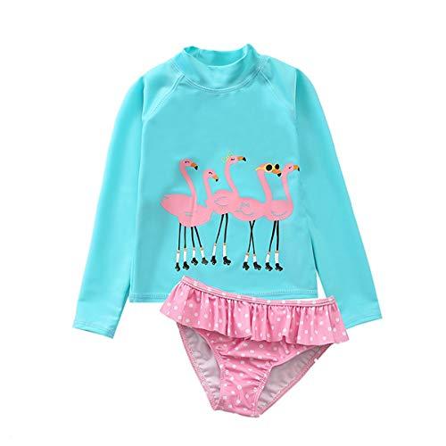 Baby Kids Girls Two Pieces Swimwear Mermaid Flamingo Hedgehog Sun Protection Swimsuit UV Rash Guard Sets 18-24M/Tag M -