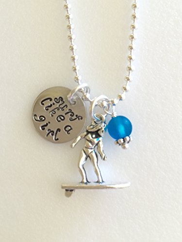 Surfer Girl Necklace, Surf Necklace, Girl On Surfboard Charm, Hand Stamped
