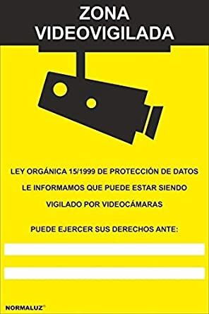 MovilCom® - Adhesivo ZONA VIDEOVIGILADA | CAMARA VIGILANCIA 100x150mm homologado nueva legislación (ref.