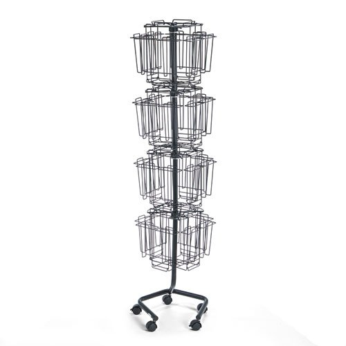 Wire Rotary Display Racks, 32 Compartments, 15w x 15d x 60h, Charcoal (Display Wire Floor Literature Safco)