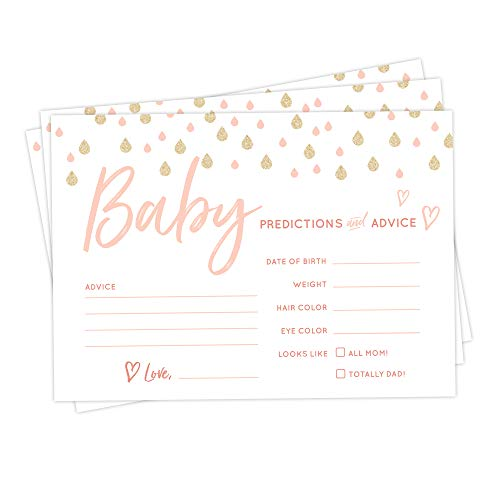 30 Pack Baby Shower Advice Cards- Raindrop Advice and Prediction Cards for Baby Sprinkle or Baby Shower Games