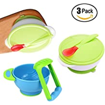 Baby Feeding Suction Bowls Set with Heat Sensitive Spoons, Mash and Serve Bowl, LitLife Dinnerware Gift Set for Kids, BPA Free
