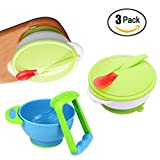 Baby Feeding Suction Bowls Set with Heat Sensitive Spoons, Mash and Serve Bowl