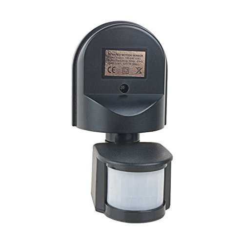 uxcell Motion Sensor Switch AC 110V-240V Outdoor Adjustable Infrared Body Motion PIR Sensor Detector Motion Sensor Light Switch Black