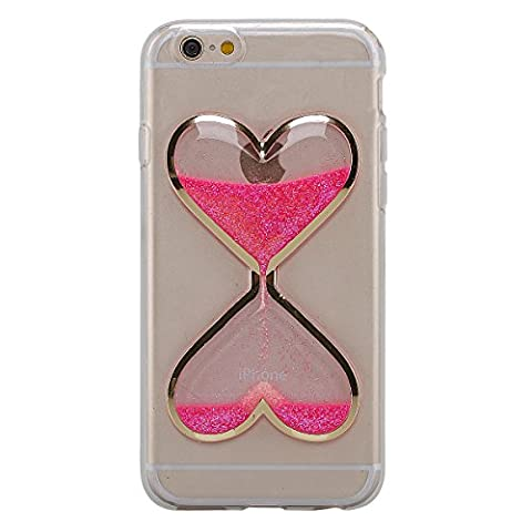 IKASEFU Clear Transparent Rubber Case for iPhone 5C,Cute Novelty Heart Shape Flowing Sand Slim Fit Clear Gel Liquid Case Cover for iPhone (Pink Iphone 5c Phone Case)