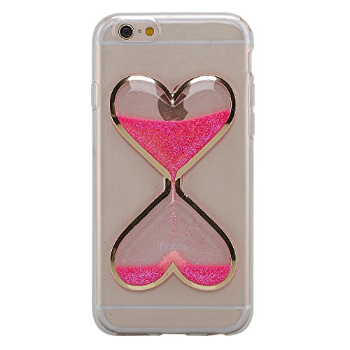 iPhone 6Plus Case, TIPFLY 3D Love Heart Hourglasses Quicksand Liquid Case Bling Glitter Sparkle Floating Transparent Soft Gel TPU Rubber Cover Skin for Apple iPhone 6Plus/6sPlus - Pink ()