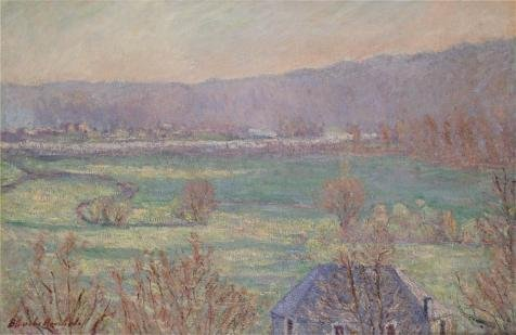 'Blanche Hochede Monet-Blue House In The Outskirts Of Giverny' Oil Painting, 18x28 Inch / 46x70 Cm ,printed On Perfect Effect Canvas ,this Vivid Art Decorative Prints On Canvas Is Perfectly Suitalbe For Powder Room Artwork And Home Decoration And Gifts