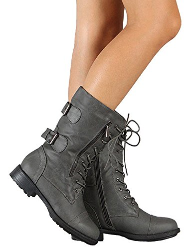 Womens Leather Boots Ermonn Zip Grey Lace Ankle Combat Winter Calf up Faux Side Booties aRYYdqSBw
